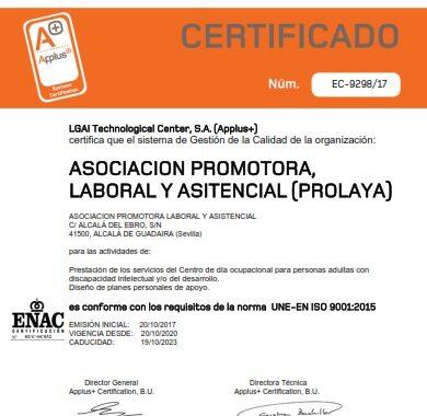 certificado calidad 2020